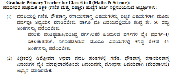 KARTET Recruitment 2019 - Eligibility for Maths and Science