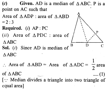 ML Aggarwal Class 9 Solutions for ICSE Maths Chapter 14 Theorems on Area     9c