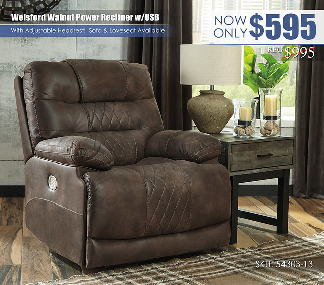 Welsford Walnut Power Recliner_54303-13
