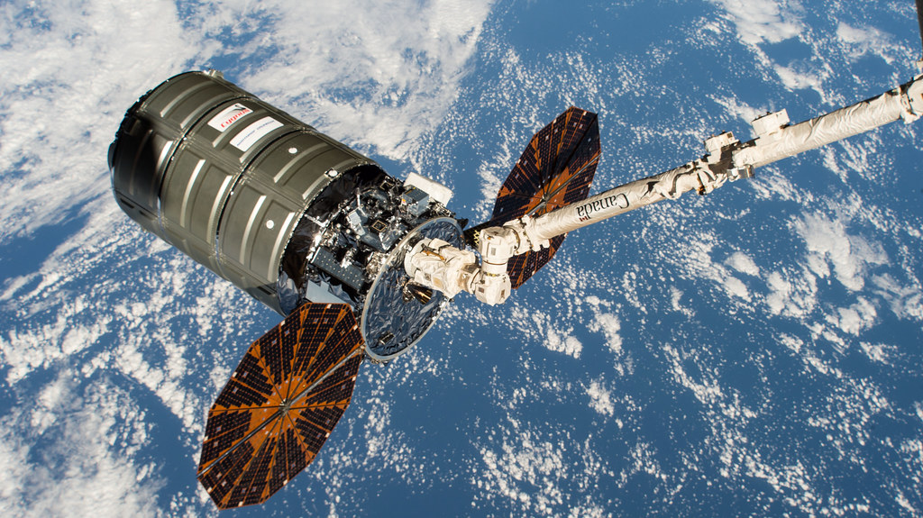 Northrop Grumman's Cygnus space freighter in the grips of the Canadarm2
