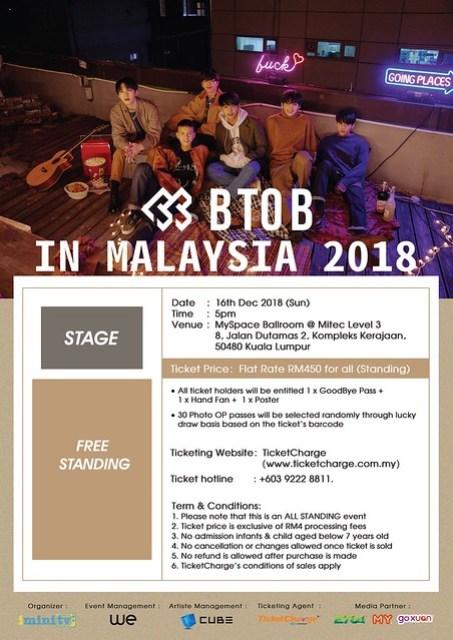 BTOB in Malaysia 2018 Seating Plan