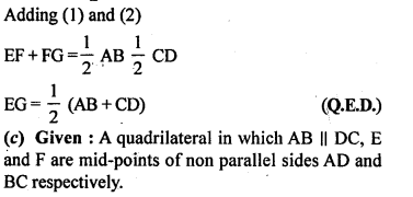 ML Aggarwal Class 9 Solutions for ICSE Maths Chapter 11 Mid Point Theorem    10c