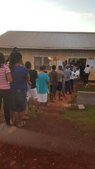 Residents of Constituency # Three in the township of Mabaruma waiting to cast their vote.