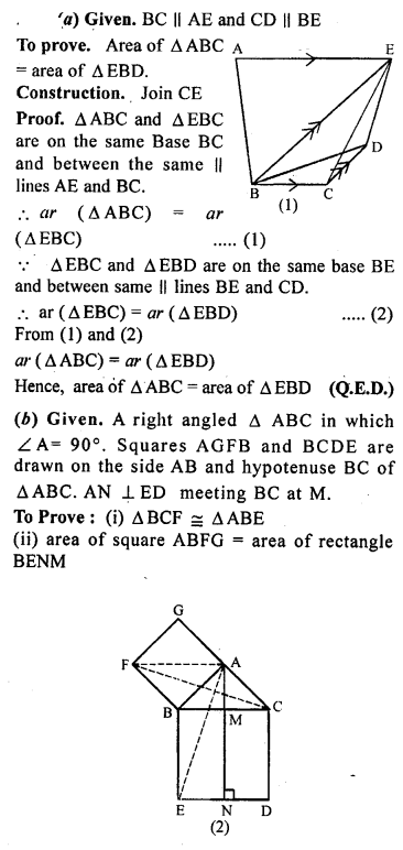 ML Aggarwal Class 9 Solutions for ICSE Maths Chapter 14 Theorems on Area    17a
