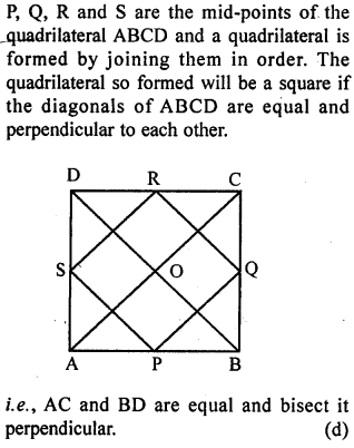 ML Aggarwal Class 9 Solutions for ICSE Maths Chapter 11 Mid Point Theorem    mcq 6