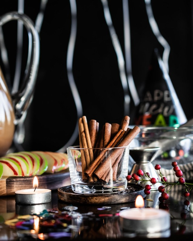 cinnamon sticks are pretty garnish, and they fill the bar area with their fragrant aroma