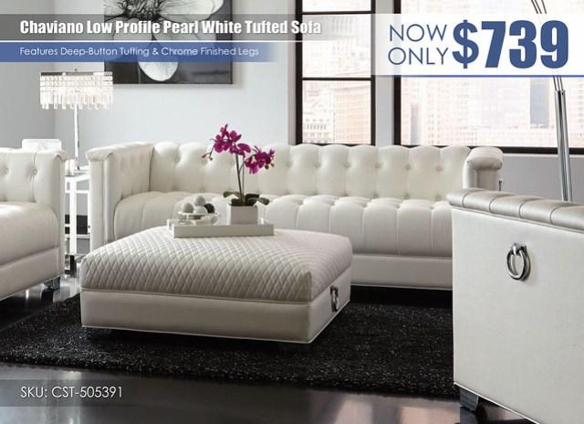 Chaviano low profile Pearl White Sofa_505391