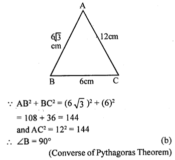 ML Aggarwal Class 9 Solutions for ICSE Maths Chapter 12 Pythagoras Theorem     mcq1a
