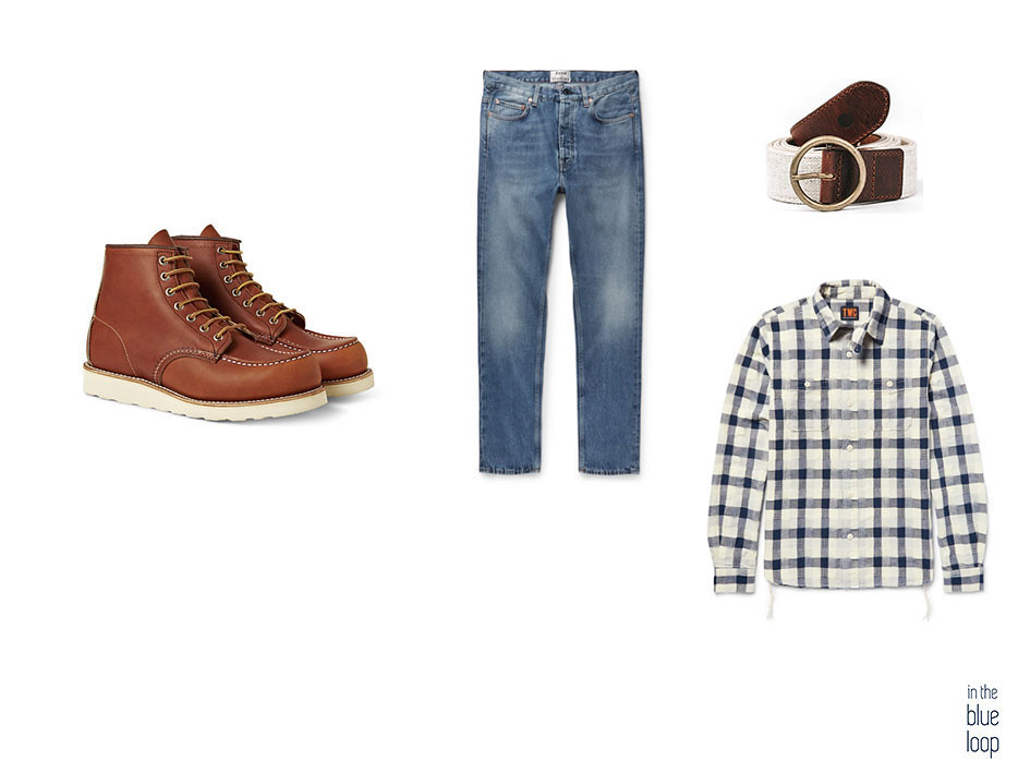Look casual con botas, cinturón Fataga de blue hole, camisa de cuadros y vaqueros o jeans