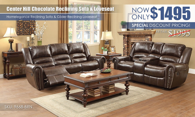Center Hill Brown Reclining Sofa & Loveseat_9688-BRN