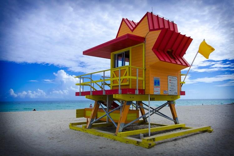 Caseta de socorrista en Miami Beach
