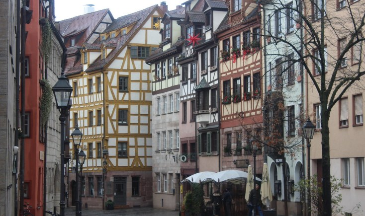 Half-timbered houses on Weissbergergasse, Nuremberg, Germany