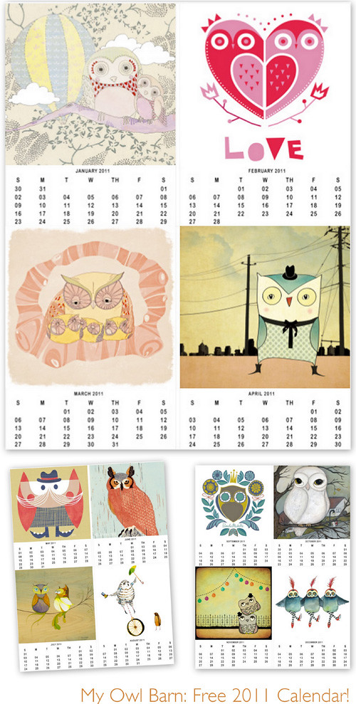Free Calendar For Owl Lovers