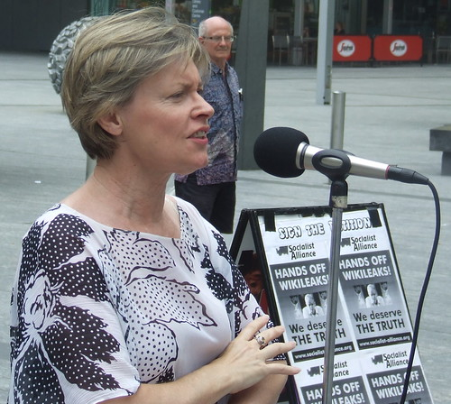 Libby Connors from the Queensland Greens addresses the rally - Wikileaks Rally, Reddacliffe Place at Brisbane Square, Brisbane, Queensland, Australia 101218
