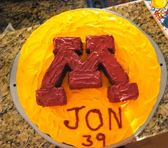 CSP's birthday cake- the Univ of Minnesota logo- by Mom of CSP