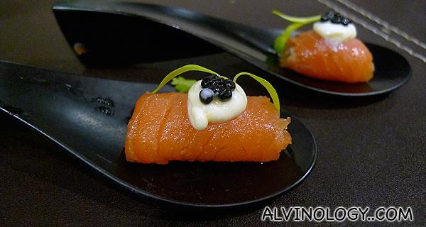 Bite-size smoked salmon