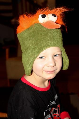 Niilo's crazy bird hat--modelled shot