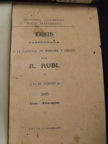 Rosendo Rubi's 1895 university thesis