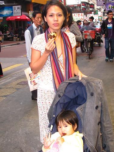 Lia with her Mama, Mong Kok, HK 2010