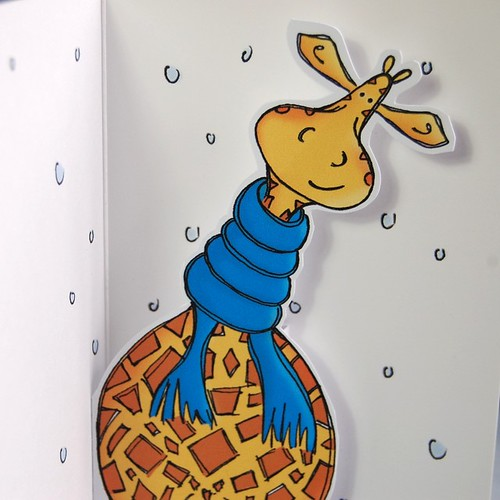 cosy giraffe - pop up card 01