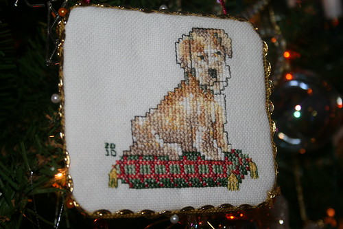 Terrier dog Cross stitched Christmas ornament