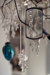 Glass icicle, through a magnifying glass