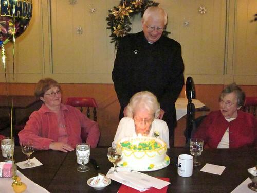 Grandma Frances and cake