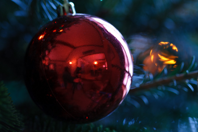 Reflections in a Christmas tree ornament.