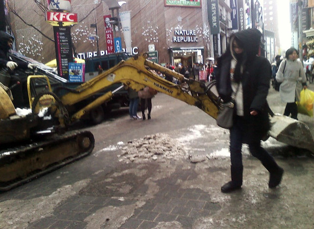 Taking Care of the ice in Myeongdong