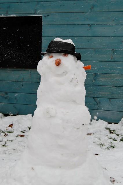 sneeuwvrouw 'bory' heeft een wortel in haar oor