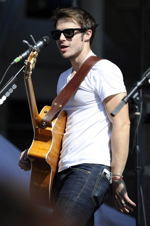 Kris Allen sexy UNF biceps arm abs white tee shirt Miami Dolphins tailgate photo