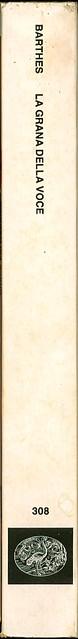 Roland Barthes, La grana della voce. Einaudi 1986. dorso