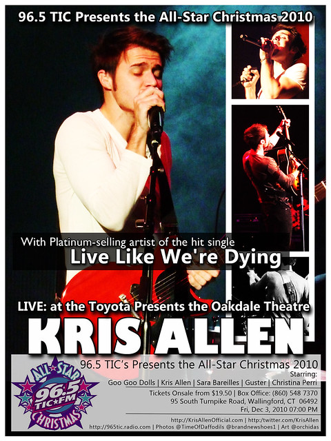 Kris Allen Promo Art - 96.5 TIC's All Star Christmas in Wallingford, CT