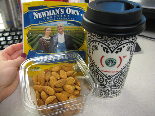 raw almonds, Newman's Own Organics Berry Blend, Jonathan Adler cup Starbucks