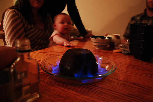 Flaming pudding.