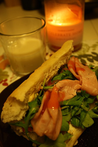 ham & arugula on a baguette, Silk egg nog