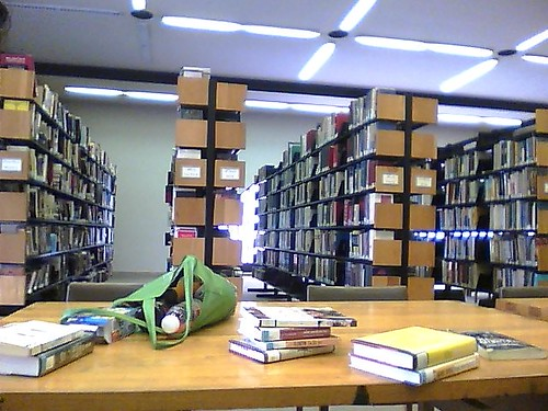 A cluttered table in the BPL