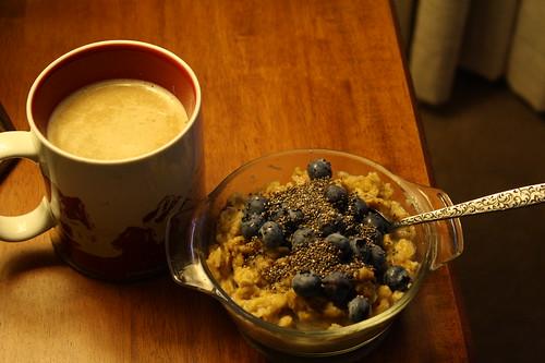 coffee, oatmeal, blueberries, chia seeds