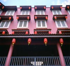 Gong Xi Fa Chai (photokedek/fahmi) Tags: street building heritage 6x6 film analog vintage mediumformat walk seagull chinesenewyear newyear symmetry iso squareformat portra melaka 120mm jonker expiredfilm 160 portra160vc jonkerwalk seagull4a gongxifachai photokedek mohdfahmi