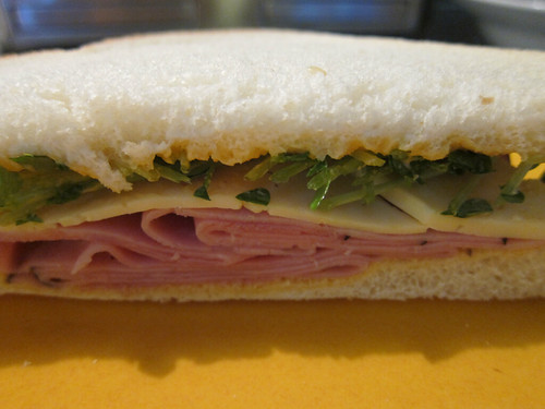 Sandwich with Ham, Cheese, Pea Shoots & Baconnaise