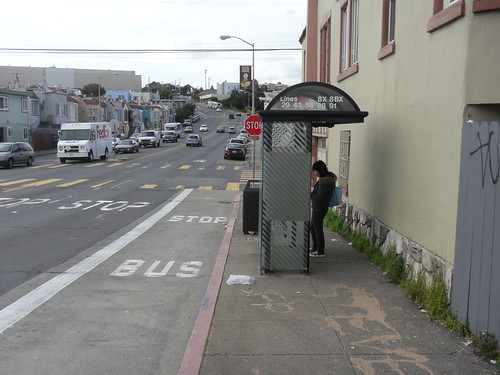 Backwards bus shelter