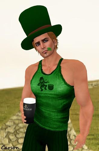 Just BECAUSE  Lucky Leprecgaun Shirt  Fir & Mina Hat with Hair and The Black Stuff Glass