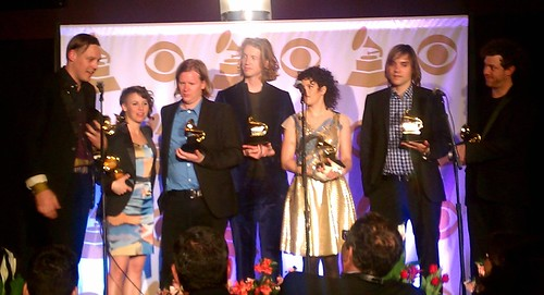 arcade fire backstage at the grammys - the suburbs won album of the year