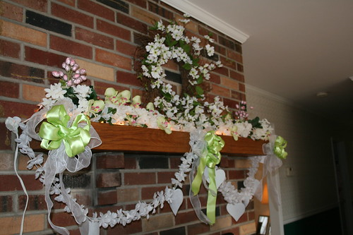 Fireplace mantel in kitchen