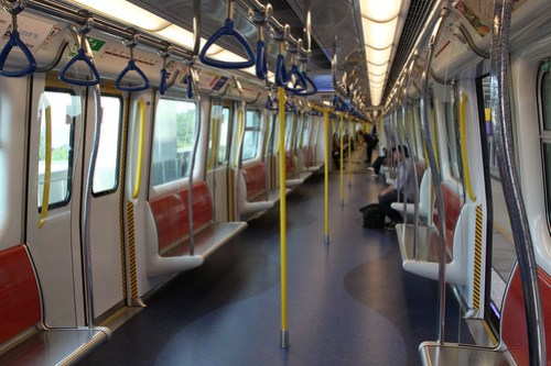 Inside a Ma On Shan line train