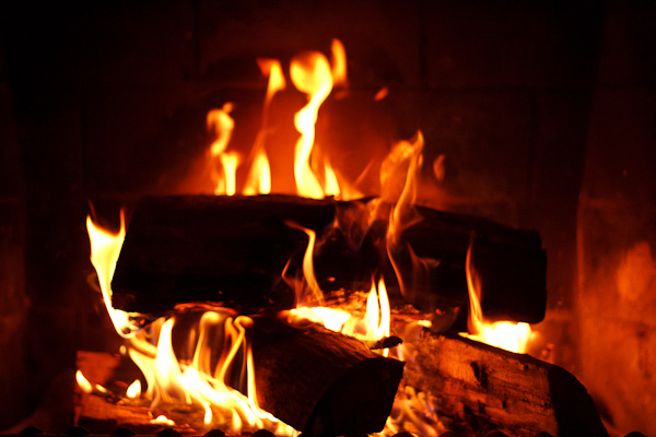 A fireplace viewed through a fast shutter speed.