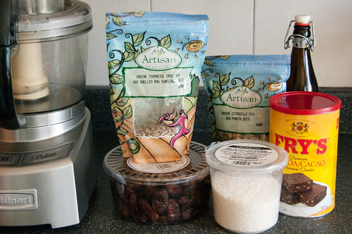 Ingedients for Choco-coconut date bars...