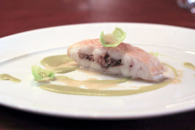 cornish dover sole stuffed with razor clams, button mushroom, brussels sprout, yuzu & english mustard purée, sweet onion jus