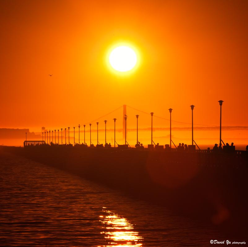 Golden Gate Bridge sunset moment