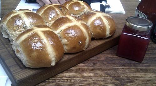Hot cross buns and rhubarb jam